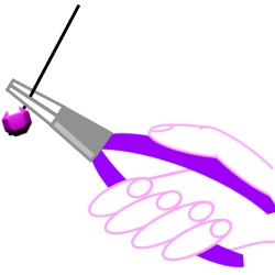 diagram of how to hold a pair of pliers to make a wrapped loop.